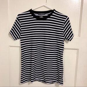 Brandy Melville Blk/White Striped Crewneck T-Shirt